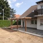 Terassenüberdachung mit Doppelstegplatten Seitenansicht