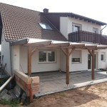 Terassenüberdachung mit Doppelstegplatten Vorderansicht 2